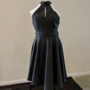 Grey A-Line Sleeveless Backless Highneck Dress